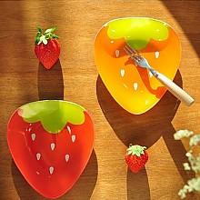 딸기 강화유리접시 빨강/오렌지(2p=1set)
